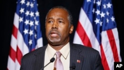 FILE - Republican presidential candidate Dr. Ben Carson speaks at a news conference in Henderson, Nevada, Nov. 16, 2015. Carson called for Congress to cut off funding for resettlement of Syrian immigrants in the U.S.