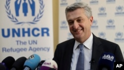 "Filippo Grandi, the head of U.N. refugee agency UNHCR, told reporters in Beirut, Lebanon, Feb. 3, 2017, that creating safe zones in Syria for refugees won't work because the country was ""not the right place"" to guarantee refugee safety."