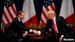 Perezida wa Reta zunze ubumwe z'Amerika, Donald Trump ahura na Perezida w'Ubufaransa Emmanuel Macron i New York, itariki 18/09/2017.