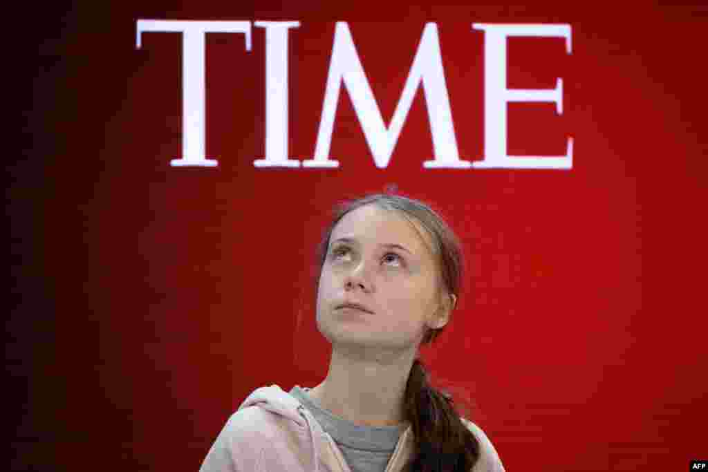 Swedish climate activist and Time's Person of the Year 2019 Greta Thunberg attends a session during the World Economic Forum annual meeting in Davos, Switzerland.