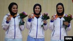 اعضای تیم تیراندازی بانوان ایران در بازیهای آسیایی اینچئون