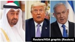 Mohammed Bin Zayed, Abu Dhabi's Prince sheikh Prince oyo azali na motole, président Donald Trump ya Amerika mpe Ministre wa Yambo ya Israël Benjanim Netanyahu