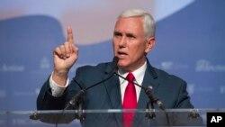 Ứng viên Phó Tổng thống Mỹ của Đảng Cộng hòa Mike Pence phát biểu tại Washington hôm 10/9.