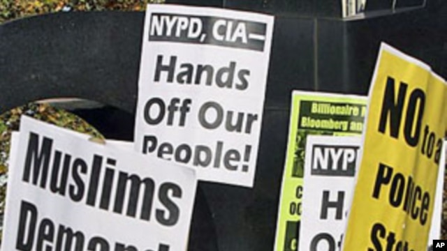 Cyrus McGoldrick, civil rights manager for the Council on American-Islamic Relations, speak during a rally of Muslims and supporters protesting the NYPD surveillance operations of Muslim communities, in New York, November 18, 2011.