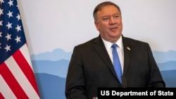 美国国务卿蓬佩奥2019年6月4日在与瑞士外交部长卡西斯召开的联合记者会上讲话。