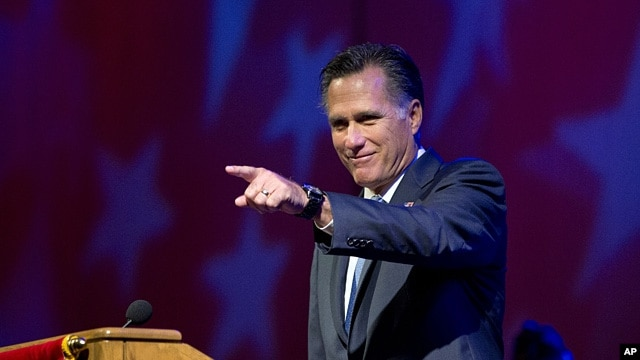 Republican presidential candidate Mitt Romney speaks at the American Legion National Convention, Aug. 29, 2012, in Indianapolis.