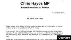 Tuyên bố của Dân biểu Úc Chris Hayes về việc Việt Nam tuyên án 12 tù đối với công dân Úc Châu Văn Khảm.
