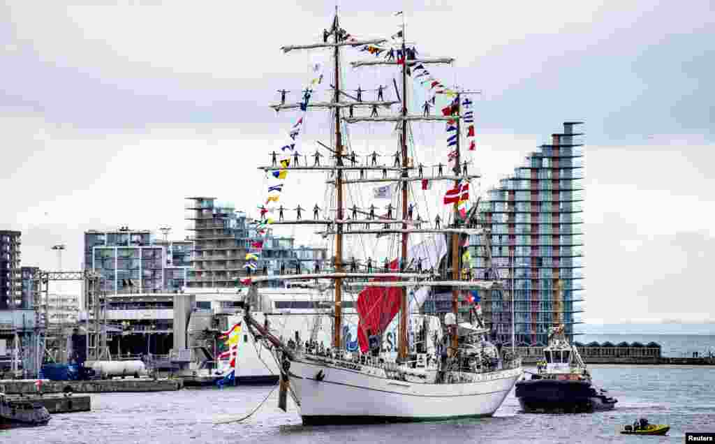The Mexican school ship Cuauhtemoc takes part in the Tall Ships Races en route to the port of Aarhus, Denmark.