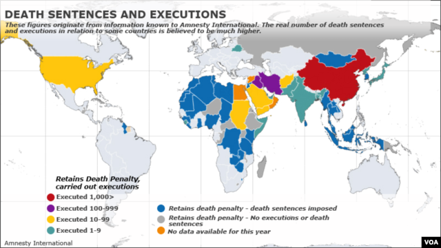 Amnesty International, death penalty map
