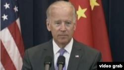 美国副总统拜登(美国之音视频截图) Vice President Joe Biden (VOA Video)