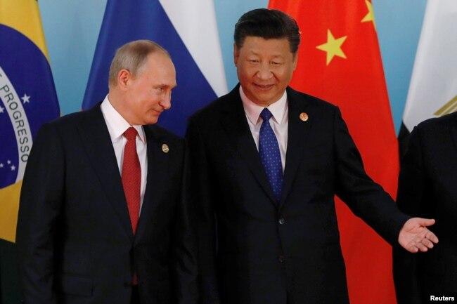 中國國家主席習近平和俄羅斯總統普京在廈門金磚國家峰會上(2017年9月5日)