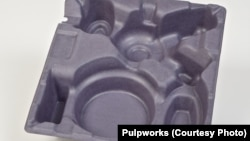 A tray made of pulp fibers is as strong and versatile as a plastic container