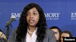 Ebola Nurse Amber Vinson speaks before her release from Emory University Hospital in Atlanta, Georgia October 28, 2014. Vinson, 29, the second of two American nurses who became infected with Ebola while treating a Liberian man who died of the disease in Texas was released from an Atlanta hospital having been declared free of the virus.