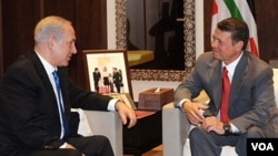 PM Benjamin Netanyahu saat bertemu Raja Abdullah II di Amman, Yordania untuk membahas perdamaian dengan Palestina.