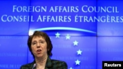 EU foreign policy chief Catherine Ashton holds a news conference at the end of a European Union foreign ministers meeting in Brussels, January 23, 2012.