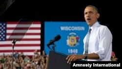 El presidente Barack Obama habla en la Universidad de Wisconsin en La Crosse, sobre la economía y los republicanos.