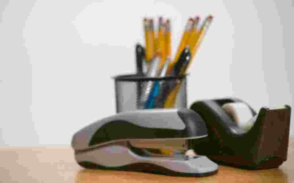 Pencil holder, stapler and tape dispenser