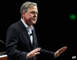 Republican presidential candidate, former Florida Gov. Jeb Bush speaks in Orlando, Florida, Nov. 13, 2105. Differences between the two parties on energy and climate issues are stark and suggest sharp contrasts in how Republicans and Democrats will address energy and environmental issues depending on who wins the White House next November.