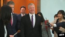 스티븐 비건 미국 국무부 대북정책특별대표가 지난 5월 한국 외교부를 방문했다.