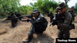 2014 코브라골드 훈련에 참가 중인 미국과 한국, 태국 해병대가 14일 태국만 해안 일대에서 대규모 연합 상륙훈련을 실시했다.