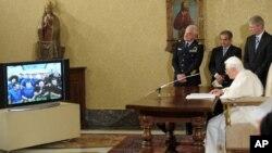 Foi a primeira chamada de vídeo feita a partir do Vaticano para o Espaço