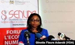 Aurelie Adam soulé Zoumarou, ministre de la Communication au Bénin, le 13 mai 2018. (VOA/Ginette Fleure Adandé)