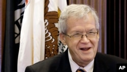 FILE - Former U.S. House Speaker Dennis Hastert addresses the Illinois House, May 2, 2013.
