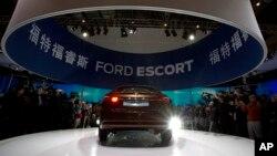 在北京举行的中国汽车展福特汽车的展台。(2014年4月20日)