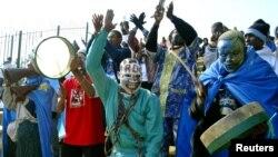 Les supporters de l'équipe de football de la RDC en Tunisie, le 1er février 2004.