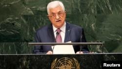 Presiden Palestina Mahmoud Abbas memberikan pidato pada Sidang Umum PBB di New York (26/9).