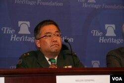 日本防卫省统合幕僚监部发言人吉田圭秀(美国之音钟辰芳拍摄)