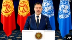 In this photo taken from video, Kyrgyzstan's President Sadyr Zhaparov remotely addresses the 76th session of the United Nations General Assembly in a pre-recorded message, Sept. 21, 2021 at UN headquarters. (UN Web TV via AP)