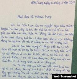 Thư của Nguyễn Bảo Nguyên gửi Đệ nhất Phu nhân Hoa Kỳ Melania Trump (Facebook Nguyễn Thị Tuyết Lan)