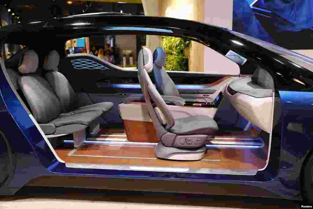 An interior by Yanfeng Automotive is displayed during the Frankfurt Motor Show (IAA) in Frankfurt, Germany, Sept. 13, 2017.