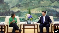 美国总统奥巴马的国家安全事务助理苏珊.赖斯星期五在北京会见了中国国家主席习近平。