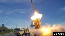 United States and South Korean officials say the THAAD anti-missile system is aimed at North Korean missiles.
