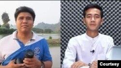Voice of Myanmar သတင္းဌာန တည္ေထာင္သူ ဦးေနလင္းနဲ႔ သတင္းေထာက္ ဦးရႈိင္းေအာင္ (ဓာတ္ပံု- သစ္ခတ္သံလြင္)