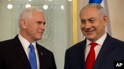 U.S. Vice President Mike Pence meets with Israel's Prime Minister Benjamin Netanyahu in Jerusalem. (Jan. 22, 2018.)