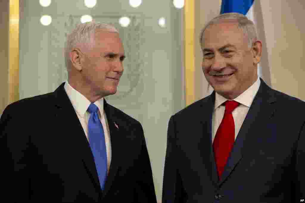 Mataimakin shugaban kasar Amurka Mike Pence ya gana da Firayim Ministan Isra'ila Benjamin Netanyahu a birnin Qudus, ranar Litinin 22 ga watan Janairu, 2018