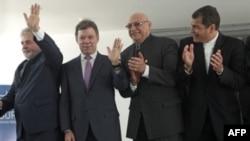 (Từ trái sang phải) Tổng thống Brazil, Colombia, Paraguay và Ecuador