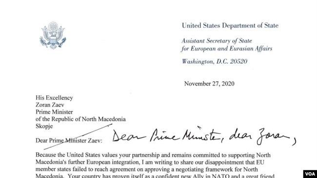 Reeker letter to PM Zaev
