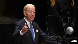 US President Joe Biden addresses the 76th Session of the UN General Assembly on September 21, 2021 in New York.