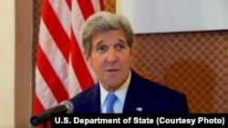 Menlu AS John Kerry saat konferensi pers di Kementerian Luar Negeri di Ulaanbataar, Mongolia, 5 Juni 2016.
