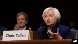 Prezidan Rezèv Federal Janet Yellen tap temwaye nan Capitol Hill nan Washington, Jedi, 17 novanm 2016.