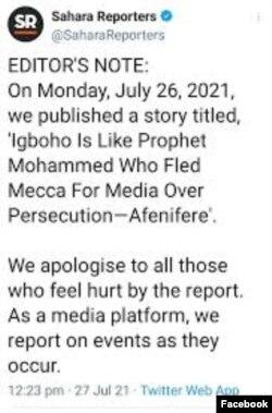 Sahara Reporters ta nemi afuwa
