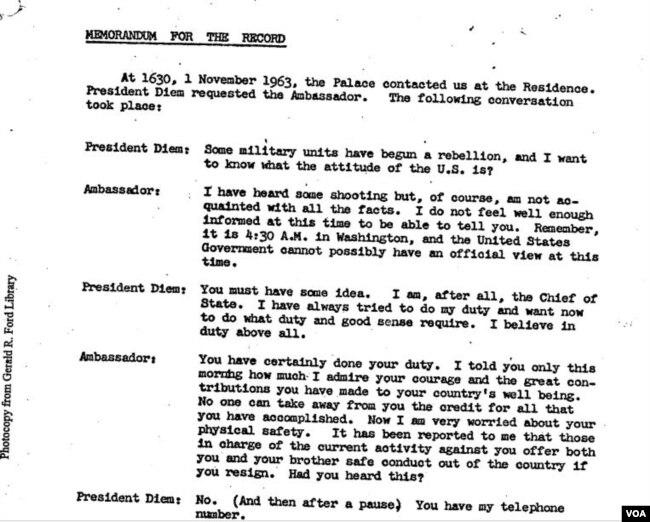 """Tài liệu ghi lại cuộc nói chuyện của TT Ngô Đình Diệm và Đại Sứ Cabot Lodge, 1 tháng 11, 1963, ngày đảo chánh: """"4 giờ 30 chiều ngày 1 tháng 11, 1963, phủ Tổng thống liên lạc tư dinh chúng tôi. TT Diệm đòi nói chuyện với đại sứ [Lodge]""""."""
