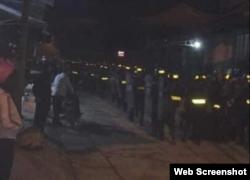 Cảnh sát cơ động trấn áp người dân Đồng Tâm, Hà Nội (sáng sớm 9/1/2020, Photo: Dong Tam TV)