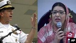 از چپ به راست: فردوس عاشق عوان وزیر اطلاعات پاکستان و مایک میولن لوی درستیز قوای مسلح ایالات متحده
