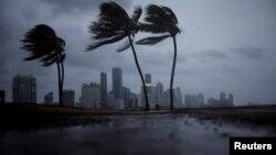 Awan gelap terlihat di langit Miami sebelum Badai Irma tiba di Florida selatan, 9 September 2017.