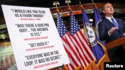 Le président de la commission du renseignement, Adam Schiff, lors de la présentation des conclusions de l'enquête sur la destitution du président américain Donald Trump à Capitol Hill, à Washington (États-Unis), le 3 décembre 2019. REUTERS / Jonathan Ernst